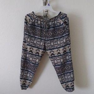 Grey and blue satin pants sz XL